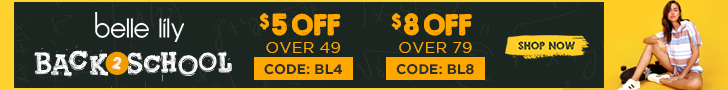 $5 off over $49 code BL4; $8 off over $79 code BL8
